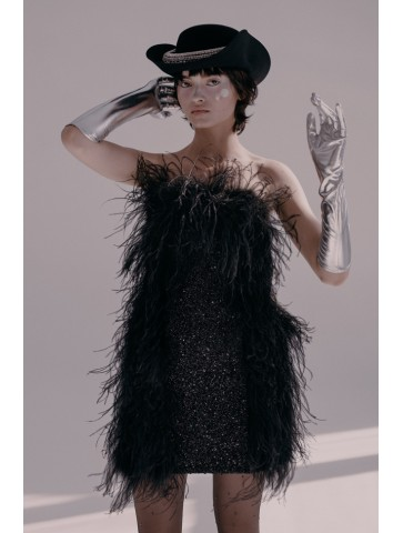 Dress with ostrich feathers